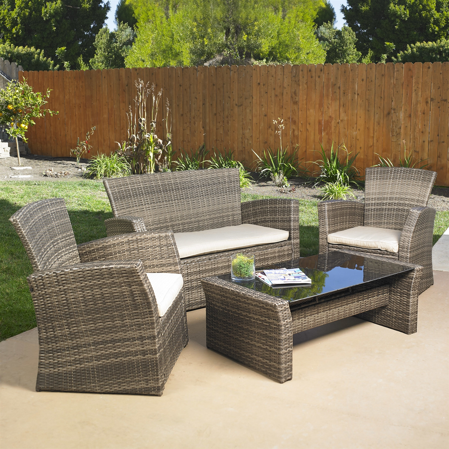 4-Piece Outdoor Weather Resistant Wicker Resin Patio Furniture Set with Cushions, M4PLS74375 :  This 4-Piece Outdoor Weather Resistant Wicker Resin Patio Furniture Set with Cushions would be a great addition to your home. It is stylish and easy to clean and is for indoor or outdoor use.  Coffee table offers versatility and class with its glass top; Weather Resistant Details: Weather resistant; Detachable Cushion: Yes; Assembly Required: Yes; Product Warranty: 5 year limited; Frame Material: Aluminum Woven; Material: Resin wicker; Woven: Yes; Upholstery Material: Sunbrella  Welt on Cushions: Yes; Cushion Fill Material: Polyester; Frame Finish: Dark brown; Individual Chair Weight Capacity: 250lbs. Included: 2 Club chairs, Loveseat, Coffee table; Product Care: Cleans up easily with a damp cloth; Country of Manufacture: China. Seat Cushion Depth: Loveseat: 22.5 Inches; Seat Cushion Depth: Chair: 21 Inches; Seat Cushion Width: Loveseat: 44 Inches; Seat Cushion Width: Chair: 22 Inches; Seat Cushion Thickness: Loveseat: 2.5 Inches; Seat Cushion Thickness: Chair: 2.5 Inches.