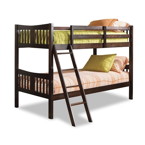 This Twin over Twin Solid Wood Bunk Bed in Espresso Finish is an elegant bedroom centerpiece that will provide maximum comfort for your children. The Twin over Twin Solid Wood Bunk Bed in Espresso Finish is smaller in stature and height for that bedroom that is short on space. As your children grow, you can easily convert the Caribou Twin-over-Twin Bunk Bed into two separate twin beds. Designed with safety in mind as it meets current U.S. and Canada safety standards; 1 Year Limited Manufacturer's Warranty; Stylish solid wood and wood product construction.