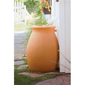 50 Gallon Rainwater Urn Style Rain Barrel with Spigot, RU50G99 :  This 50 Gallon Rainwater Urn Style Rain Barrel with Spigot is constructed from tough, roto molded plastic able to withstand extreme temperatures and will not chip, fade, or crack over time. The rain barrel comes with a convenient spigot and corrosion-proof screen guard. The rain barrel doubles as a planter and measures 23 x 33-inch.