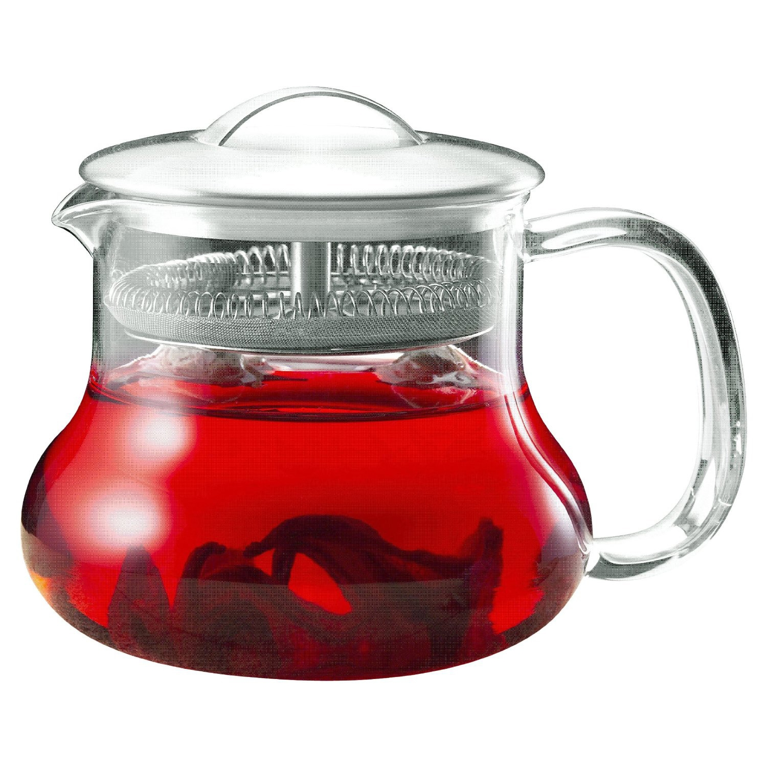 This 22-ounce Glass Kettle Tea Pot Strainer with Stainless Steel Lid is great for any teahouse, restaurant, home, office, and a great gift idea! It features a stainless steel lid that has a built in permanent micromesh filter that brews the perfect cup of loose or flowering tea. The Sitka has a convenient easy pour handle and a non-drip spout.