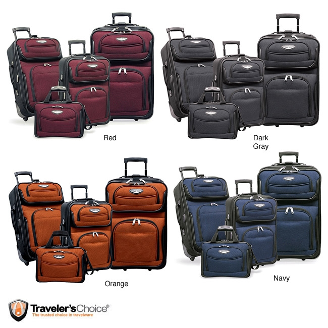 Dutch 4-piece Luggage Set, TSA4PLS799 :  This Dutch 4-piece Luggage Set has Inline skate wheels with corner protectors. Also, the Interior deluxe retractable push-button handle system. Constructed of 1200D 2-tone polyester with PVC backing (Front Panel); Constructed of 600D polyester with PVC backing (Box); Inline skate wheels with corner protectors; Expandable (25-percent more packing capacity); Multiple front pockets, Dual top and side carry handles, Bag clasp; Large zippered mesh lid pocket; Elastic tie straps, ID window on back panel; Dual shoe pockets, Full imprinted lining.
