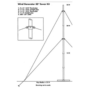 30' Tower Kit for Wind Generators; Shipping Weight: 65lbs., SWG30TK375 :  This 30' Tower Kit for Wind Generators is designed to mount the Sunforce 600 Watt Wind Generator (sold separately, model # 45444) and other small wind turbines. Designed to withstand forces on the wind generator and tower from high, heavy winds, this all-weather tower kit is easy to assemble and an excellent choice for almost any portable wind generator. The kit includes all parts required for installation.  30 ft. tower mount for small wind turbines (designed for the Sunforce 45444 600 Watt Wind Turbine, sold separately); Works with almost any portable wind generator; All-weather and easy to assemble; Manufacturer recommends using a cement base for best performance.
