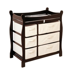This Espresso Wood Baby Diaper Changing Table with 6 Storage Baskets keeps everything tidy and concealed for a clean look in the nursery. One-half features three, large pull out baskets for clothes, diapers, blankets, and toys. The other side has three small pull-out baskets are ideal for changing supplies, socks, shoes, hats, and toiletries. Card holders on the front of each basket make it easy to sort and identify the contents! The changing table includes a top pad and safety belt, as well as safety rails on all four sides. A metal support bar beneath the changing surface provides additional stability. This wood table has a non-toxic finish and hardboard top shelf. Configuration of the baskets is reversible so the large/small baskets can be either on the left or right side. For use up to 30 lbs (13.6 kg). Assembly level/degree of difficulty: Moderate.