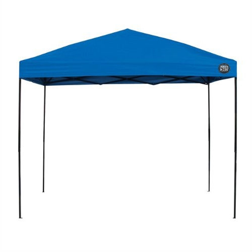 10-Ft x 10-Ft Blue Fabric Top Canopy with Wheeled Carry Bag, STBC5618474 :  This 10-Ft x 10-Ft Blue Fabric Top Canopy with Wheeled Carry Bag provides shade and shelter wherever you need it. Simple to set up and quickly folds into an easily transported compact shape that fits inside the wheeled carry bag provided. This canopy measures 10x10ft at the base and provides 100 sq. ft. of shade with a 10x10 ft. fabric top. Three height adjustments available with the lightweight, durable corrosion resistant powder- coated steel frame; Lever tab activated push pins for more comfortable use; Wheeled carry bag so you can easily take it anywhere: backyard, camping, sporting events.
