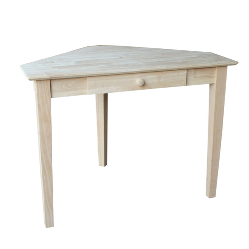 This unfinished solid wood Unfinished Wood Corner Desk Laptop Computer Writing Table with Drawer will fit any décor. Ready to make your own by adding your choice of finish.