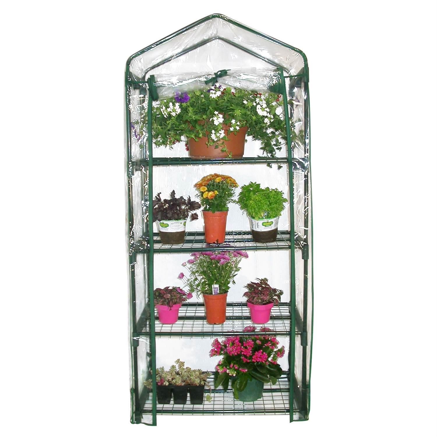4-Tier Growing Rack Planter Stand Greenhouse with Steel Frame, A4TGR6335 :  This 4-Tier Growing Rack Planter Stand Greenhouse with Steel Frame would be a great addition to your home. It is ideal for extending your growing season and has a uv-treated plastic cover great for any climate. Perfect for your home or garden; Ideal for extending the growing season; Interlock components; Strength and durability; Steel mesh shelving provides ideal drainage and air circulation; Frame constructed of powder-coated steel.