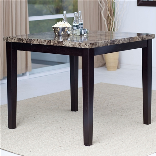 Impress your dinner guests with this Contemporary 42 x 42 inch Counter Height Dining Table With Faux Marble Top. This table looks like it cost you a mint, with a marble-veneer tabletop over an espresso-colored solid wood frame. The piece's dark elegance adds a note of sophistication to any modern dining room. Choose any four chairs with faux leather upholstery to complete the look. Your friends will think you splurged on an interior designer with this attractive addition to your home furniture collection.