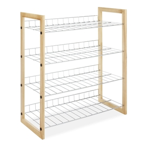 4-Shelf Closet Shoe Rack with Natural Wood Frame and Chrome Wire Shelves, WSC245068 :  This 4-Shelf Closet Shoe Rack with Natural Wood Frame and Chrome Wire Shelves has a vertical back lip that keep items from falling in back of the unit. Beautiful natural wood frame give the closet shelves that finishing touch to an attractive piece of furniture storage. Great item for shoes, sweaters, purses and accessories. Use on top shelf of closet or underneath hanging cloths. Closet shelves will complement any room in the house or office. Easy to assemble