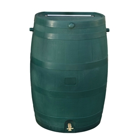 50-Gallon Oak Wood Style Rain Barrel in Green Plastic, RT501059B :  This 50-Gallon Oak Wood Style Rain Barrel in Green Plastic would be a great addition to your home. Embrace nature's solution to our emerging water shortage--collect rainwater! When drought sets in and rain is short, rain barrels can provide that precious water you need for your lawn and garden. Our authentic oak barrel texture is molded into each barrel and will not fade, rot or risk insect infestation. The RTS Accents rain barrel has many unique features including a flat back to sit flush against a wall, linkable to other rain barrels for increased capacity, screen to keep out debris and insects, and a shut off valve for hose hook up with dual overflow. This rain barrel can provide up to 50 gallons of pure unchlorinated water. During heavy rain falls, a typical roof can produce hundreds of gallons of water and by saving that water, you can reduce your average water usage. With those kinds of savings, this rain barrel can pay for itself in just a few seasons. A front side overflow keeps water from flooding against your outside wall. It is recommended that you drain your barrels when temperatures approach the freezing point. Optional barrel stands create a larger offset between the spigot and the ground, making it easier to fill watering cans and for general use. Green. Optional stand to make filling watering cans easier (sold separately); Designed to be child and pet safe with no large openings.