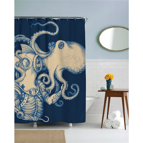 72 inch Ocean Scuba Diver Octopus Shower Curtain, SC458198152 : Your bathroom will become breath-taking with this 72 inch Ocean Scuba Diver Octopus Shower Curtain! It comes with 12 shower hooks and is printed on 100% polyester.
