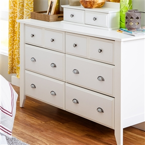 Keep clothes neatly folded and organized in this White 6-Drawer Dresser Traditional Design - Made in USA. A neutral finish and traditional design make it an easy addition to any bedroom. An optional mirror turns this dresser into a vanity, so you can save space on extra furnishings. This classically designed pieces that will tie your entire bedroom together seamlessly. Don't lose sleep over redecorating—matching finishes make it easy to furnish your whole space. Finish: 1: Brown; Finish: 2: Oak; Finish: 3: White; Non-Toxic: Yes; Style: Contemporary; Storage Function: Clothing. Drawer Glide Material: Metal; Soft Close or Self Close Drawer Glides: Yes; Safety Stop: Yes; Ball Bearing Glides: Yes. Drawer Handle Design: Drawer pulls; Knobs; Hardware Finish: Antique Pewter. Country of Manufacture: United States; Eco-Friendly: Yes; Product Care: Damp Cloth.