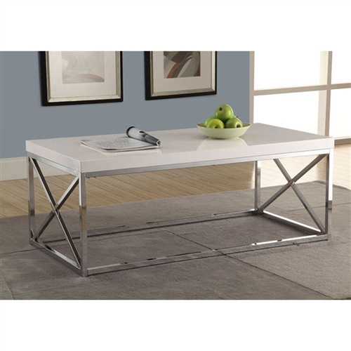 To have or not to have just isn't an option! This Modern Coffee Table in Glossy White with Chrome Metal Frame offers individuals a simple yet favorable way for placing drinks, snacks or meals while watching TV or chatting on the sofa. Its fashionable curved chrome metal base and dark taupe reclaimed wood-look top provide exceptional support to this must-have piece!