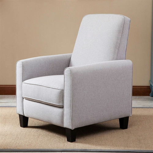 Relax in style with this Gray Cotton Upholstered Club Chair Living Room Recliner featuring a solid frame and sturdy feet for added stability and strength. This comfortable reclining chair is great for small spaces and functions as a great place to take a nap or read a book. Frame Material: Wood; Swivel: No; Assembly Required: Yes; Product Warranty: 1 year; Scale: Small Size Recliner; Non-Toxic: Yes; Fire Resistant: Yes; Heating: No; Scratch Resistant: Yes; Stain Resistant: Yes; Mildew Resistant: Yes; Fade Resistant: Yes; Tear Resistant: Yes; Seating Comfort: Soft; Cushion or Upholstery Fill Material: Foam; Foam Density: 21; Removable Seat Cushion: No; Removable Back Cushion: Yes. Number of Reclining Positions: 2; Reclining Mechanism Side: Right; Reclining Mechanism Details: Push Back Mechanism; Required Back Clearance to Recline: 4 Inches. Footrest Included: Yes; Retractable Footrest: Yes; Back Type: Cushion back; Arm Type: Round arms; Removable Legs: Yes.