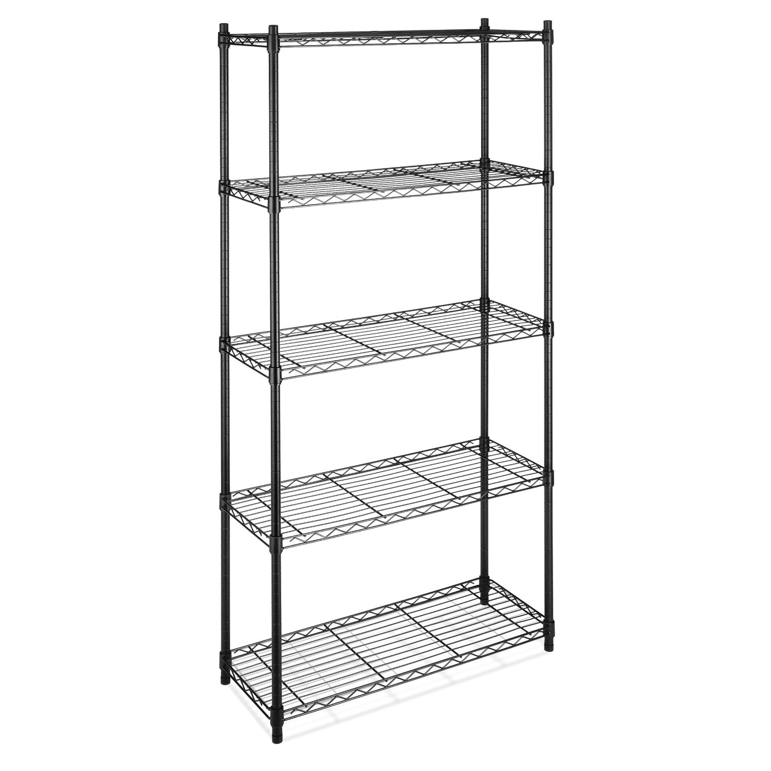 """5-Shelf Storage Shelves Unit in Black-Coated Chrome Steel, WS5TSU791 :  Strong and sturdy, this 5-Shelf Storage Shelves Unit in Black-Coated Chrome Steel features three, four or five shelves that each hold up to 350 pounds. The small shelving unit has three shelves that each hold up to 200 pounds. Ideal for use in just about any room of your home, as well as in the garage, the shelves are also conveniently adjustable in 1"""" increments. Adjustable leveling feet; No tools required; Measures 36 by 14 by 72 inches (WxDxH); 10-year limited warranty; Chrome steel."""