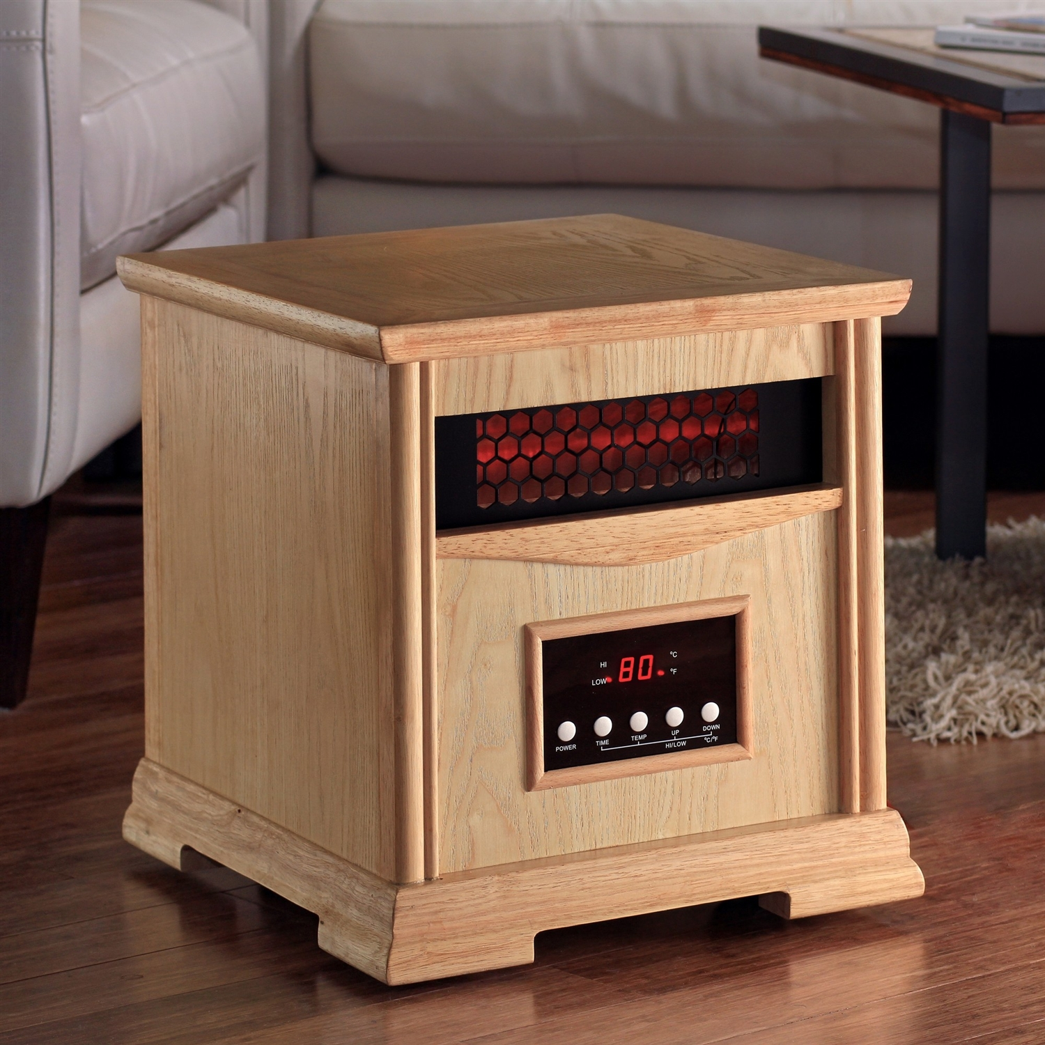 Light Oak Quartz Element 1,500 Watt Infrared Cabinet Space Heater, LODQE11902 :  This Light Oak Quartz Element 1,500 Watt Infrared Cabinet Space Heater is a beautifully crafted supplemental heat source that heats a single room up to 1000 square feet. This heater emits clean, evenly distributed heat, producing a soft, cozy heat the same way the sun warms the earth and atmosphere by means of safe infrared absorption. Its innovative design incorporates the absorption of infrared energy through a unique heater exchange, allowing production and circulation of purified heated air back into your desired space. The Heater acts like a portable furnace by raising the temperature evenly from floor to ceiling and helps reduce energy expense by allowing you to lower your in-home (primary) thermostat. Now you won't have to waste energy heating the entire house!  Exquisite wood cabinet; Built-in lifetime air filter; Easy-to-operate LED controls and convenient remote for wireless control; Plug-and-heat feature; Easy-glide wheels included for portability; Single speed blower rated at a quiet 46 dB; Variable heat controls with settings for 750W as well as 1500W;  Manufacturer provides a 1 year limited warranty. Product Type: Infrared; Grille Finish: Black; Material: Aluminum; Wood; Hardware Material: Stainless Steel; Aluminum.