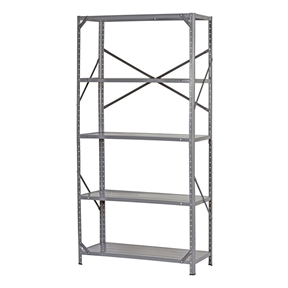 """Commercial Steel Freestanding 5-Shelf Unit with Rubber Feet, ESC345215 :  This Commercial Steel Freestanding 5-Shelf Unit with Rubber Feet has five shelves and is made of steel to support a 250-lb. per shelf capacity and a 1,250-lb. total capacity when the weight is distributed evenly across all shelves. The shelves adjust in 1-1/2"""" increments to accommodate the height of stored items. This shelf unit has cross-braces on the back and on both sides for rigidity, and the posts come with rubber feet to help protect the floor from scratches. It has a gray enamel finish to resist corrosion and is commonly used to organize and store items in residential, office, and workshop settings. The assembled unit is 72 x 36 x 16 inches (H x W x D). (H is height, the vertical distance from lowest to highest point; W is width, the horizontal distance from left to right; D is depth, the horizontal distance from front to back.) This shelf unit has a nut and bolt assembly. Assembly instructions, nuts, and bolts are included. Tools for assembly are sold separately. Standing shelf units are commonly used to store items to help create organized, efficient, and safer work areas. These systems typically consist of a frame or rack with open shelves. Added components such as casters, wheels, or handles are used for applications that require mobility. Standing shelf units are used in a variety of office, industrial, educational, and residential settings."""