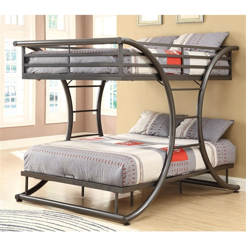 Whether you are seeking space saving features or simply a fun and attractive piece, this Full Over Full size Modern Metal Bunk Bed Frame in Gunmetal Finish will give your child's bedroom or guest room an updated look you won't easily tire of. Contemporary style. Metal curve design. Attached ladders and top-bunk guards rails. Gunmetal color. No assembly required. 82 in. L x 61 in. W x 65 in. H. Warranty. Bunk Bed Warning.Please read before purchase.. NOTE: Shop ladder DOES NOT offer assembly on loft beds or bunk beds. The modern feel and sturdily supports the bunks.