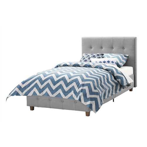 This Twin size Grey Upholstered Platform Bed Frame with Button-Tufted Headboard creates the perfect centerpiece for your bedroom! the low profile headboard and footboard, designed with square tufted detailing give the piece a modern look and feel. Its beautiful linen upholstery and thick cushioned padding will make your room look like a luxurious and comfortable haven to sleep in. The bed's clean square profile is built with multiple wooden slats for support and durability and does not require a box spring. Available in twin, full or queen size, the bed is available in various colors to better suit your needs.