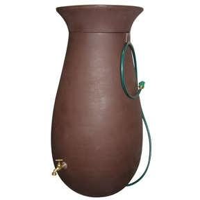 Molded Plastic 65-Gallon Rain Barrel in Dark Brown, ACRWC179 :  This Molded Plastic 65-Gallon Rain Barrel in Dark Brown combines the timeless aesthetic elegance of ceramics with the enduring durability of modern plastics. This 65-gallon rainsaver is constructed from tough, roto molded plastic able to withstand extreme temperatures and will not chip, fade, or crack over time. The rain barrel comes with a 6-foot garden hose with shutoff nozzle, corrosion-proof screen guard, brass spigot, and easily removable crown planter on top. It's double-walled for supreme strength. The hose hangs neatly on the attached hook. The rain barrel measures 24 x 46 inches. Double-walled crown planter included; Some assembly required; 2-year limited warranty on barrel only.