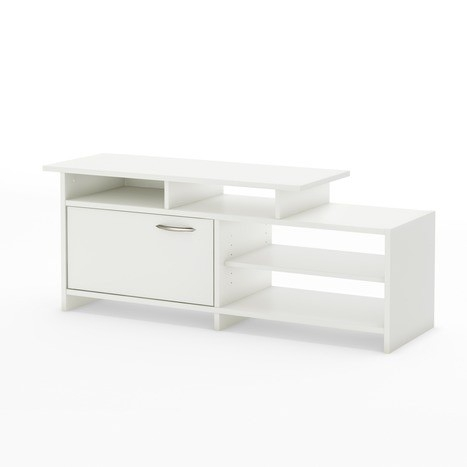 This Modern White TV Stand for Flat Screen TVs up to 42-inch will bring a trendy look to your living room. It offers both practical easy-access open storage and a closed storage compartment as well. Its neutral and trendy finish will easily blend right in with any decor. Open space in the back for easy and neat wire management; EPP-compliant laminated particle board carrying the Forest Stewardship Council (FSC) certification; Color: Pure white; Elegant metal handle in a brushed nickel finish; 5-year limited warranty; Recommended TV Type: Plasma/LCD. ISTA 3A Certified: Yes; Assembly Required: Yes; CARB Compliant: Yes; Adjustable Interior Shelves: Yes; Style: Modern. Hardware Finish: Brushed Nickel; Media Player Storage: Yes; Media Storage: Yes; Cable Management: Yes; Eco-Friendly: Yes; Non-Toxic: Yes; Product Care: Wipe clean with a dry cloth.