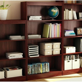 Ideal for your binders, books or decorative items, this Four Shelf Eco-Friendly Bookcase in Royal Cherry Finish can meet your every need. Its warm royal cherry finish and refined lines harmonize seamlessly with virtually any decor. Both functional and attractive with its sleek contemporary styling, this bookcase is sure to enhance the look of any room in your home. Contemporary style; Two adjustable and fixed shelves; Functional and attractive; Assembly required; Manufacturer provides 5 year warranty against furniture defects or workmanship.
