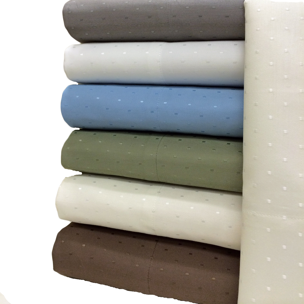 Royal Tradition Woven Dots 600 Thread Count Sheet Sets. Easy Care & Wrinkle Free 600 Thread count sheets & Pillowcases. Cotton/Polyester combine the best of both worlds, cotton for the comfort and polyester for it's strength.