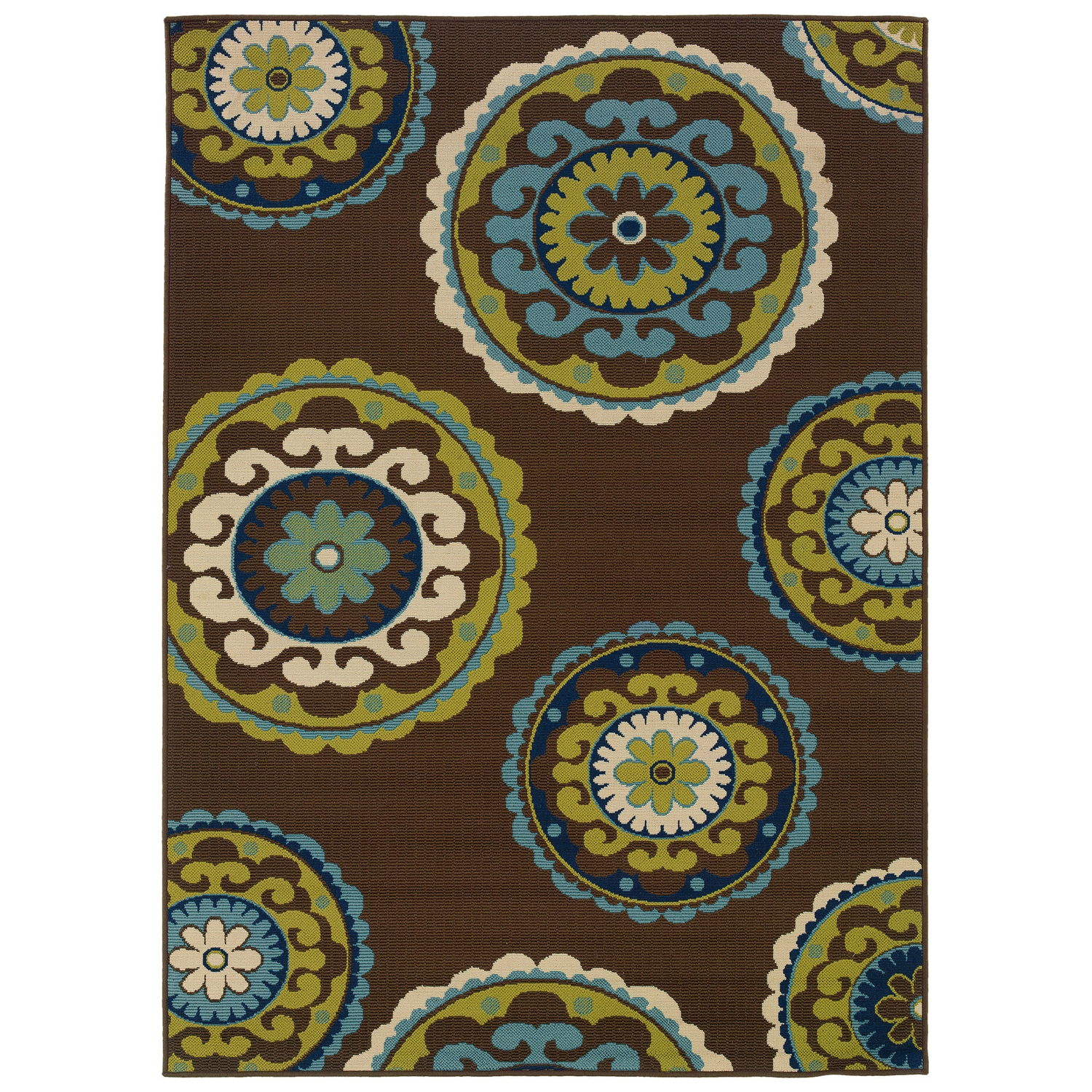 7'10 x 10'10 Outdoor/Indoor Area Rug in Brown Teal, Green Yellow Circles, CBG226541 :  This 7'10 x 10'10 Outdoor/Indoor Area Rug in Brown Teal, Green Yellow Circles would be a great addition to your home. It is made by a woven technique and is made of 100% polypropylene material. Ideal for any modern setting, the Rug has a lively and vibrant floral design spread over it. Being water repellent and mildew resistant, this versatile rug can be used indoors as well as outdoors. So it can placed in your living room, bedroom, kitchen area, on your terrace under the wicker table or simply outside on your patio. Thanks to its 100% polypropylene material, this ivory/green carpet from the Caspian collection is sure to stay in the family for years. A machine construction also adds to the durability of this rug. Plus, it is stain and fade resistant, so the rug looks new for long. Thus it can be said that, this woven rug is extremely luxurious and reliable. Remember to use this whimsical Rug with a backing pad to avoid any accidental slips or falls. Using a rug pad also improves the life of your rug and protects your flooring. Vacuum cleaning this ivory/green rug at regular intervals helps it look new and lush at all times. In case your rug appears heavily soiled, getting it professional cleaned is essential. Available in different shapes and sizes, this beautiful rug can easily meet all your styling requirements.