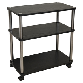This 3-Shelf Mobile Home Office Caddy Printer Stand Cart in Black offers dozens of home or office uses. It is the perfect extra table. It has a solid wood construction and will provide years of enjoyment. Attractive black wood grain finish; Product Type: Mobile; Number of Casters: 4; Product Care: Wipe clean with a dry cloth; Country of Manufacture: China.