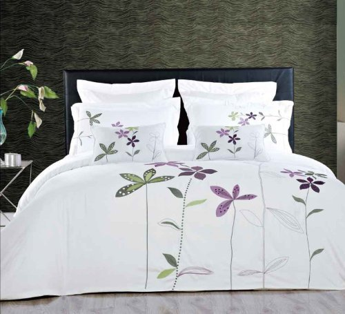 """South Garden 5 Piece Embroidered Duvet Cover Set. You are invited to experience the comfort, luxury and softness of our luxurious Embroidered Microfiber duvet covers. Silky Soft made from 100% Microfiber with 300 Thread count woven with superior single ply yarn. The colors of this set are a combination of White, Lavender and Green or Ivory ,Lavender and Green 5pc Duvet cover set Features: 1-Duvet cover made with button closure by footer 2-pillow shams 2- Filled Decorative Pillows 12x18"""" ea. Machine Wash."""