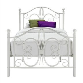 Add a touch of elegance to your bedroom with this Twin White Metal Platform Bed Frame with Headboard and Footboard. The headboard and footboard boast traditional scrollwork curves with round finial posts to provide a simple, yet classic look. Complete with metal slats and supporting legs, this bed does not require a box spring or Bunkie board. Available in a white finish that compliments a multitude of room decors, the bed will be the focal point of your bedroom.