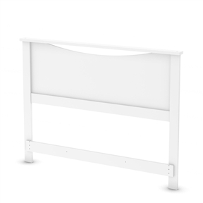 This Full-size Headboard in White Wood Finish with its geometric lines and European-inspired style will add elegance to the bedroom. Also available in Chocolate, Natural Maple or Pure Black finish. It measures 58-1/2-inch wide by 3-inch deep by 44-inch high. It is delivered in a box measuring 63-inch by 21-1/2-inch by 3-1/2-inch and weighing 37-pound. Made of non-toxic recycled CARB2 compliant laminated particle panels. Complete assembly required by 2 adults. Tools are not included. 5-year limited warranty.