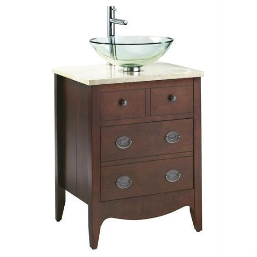 Bathroom Vanity in Cherry - Sink and Marble Top Not Included, ASJV37451 :  This Bathroom Vanity in Cherry - Sink and Marble Top Not Included takes inspiration from America's founding fathers by presenting a stately way to store toiletries. This traditional styled vanity comes pre-assembled and is constructed with strong birch hardwood solids and veneers to withstand the test of time. The bathroom vanity is currently available in an autumn cherry color and is best fitted with a black or cream marble top. Coordinating vessel sink and countertop; American Standard - style that works better.