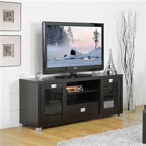 It is all about a place for everything and everything in its place from top to bottom with this Modern Glass Door TV Stand in Dark Brown. With two sliding doors, a center drawer and more, this entertainment center will hold all your needed electronic components. Silver drawer pulls and legs; Adjustable position shelving; Holes in rear for easy cable management; Middle shelves are adjustables; Assembly required.