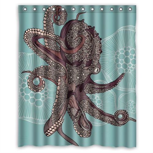 60 x 72 inch Water Proof Polyester Octopus Shower Curtain, YCFC5198152 : This 60 x 72 inch Water Proof Polyester Octopus Shower Curtain is made of polyester fabric, which is waterproof and soft. We also give you firm C-shape hooks, you can install the shower curtain by yourself.