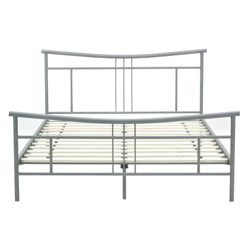 This Full-size Modern Metal Platform Bed Frame with Headboard and Footboard features a gently sloped headboard and footboard for an elegant design. A beautiful matte heather gray color allows for seamlessly coordination in an room design scheme. Easy to assemble and disassemble, making it the perfect statement for a guest room, kids room or an apartment. Slats Required; Slats Required: Yes; Slats Included: Yes; Bed Type: Slat; Powder Coated Finish: Yes; Style: Contemporary; Finish or Fabric: Matte heather gray.