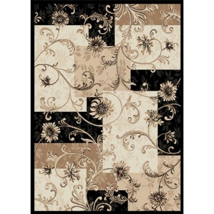 8' x 10' Optimum Area Rug with Flower Design in Black & Tan, HDOAR1249 :  This 8' x 10' Optimum Area Rug with Flower Design in Black & Tan is a Embellish a transitional-styled living room floor with this engaging area rug from Home Dynamix's nature-inspired Optimum collection. Against a contemporary background of layered squares in black, ivory, and beige, scrolled vines of delicate flowers and foliage lend a classic flavor to the rug. The rug features power-loomed polypropylene yarn construction for long-lasting performance. Resilient against soiling, staining, and fading, the rug cleans easily with a damp cloth and mild soap. Home Dynamix offers this model in 43-inch by 62-inch, 62-inch by 86-inch, and 92-inch by 124-inch rectangles, a 21-inch by 86-inch runner, and a 94-inch diameter circle. This rug weighs 24 pounds upon shipping. Made with machine-loomed 100-percent polypropylene; with 1/2-inch pile; Easy vacuum cleaning; blot spills with damp cloth and mild soap