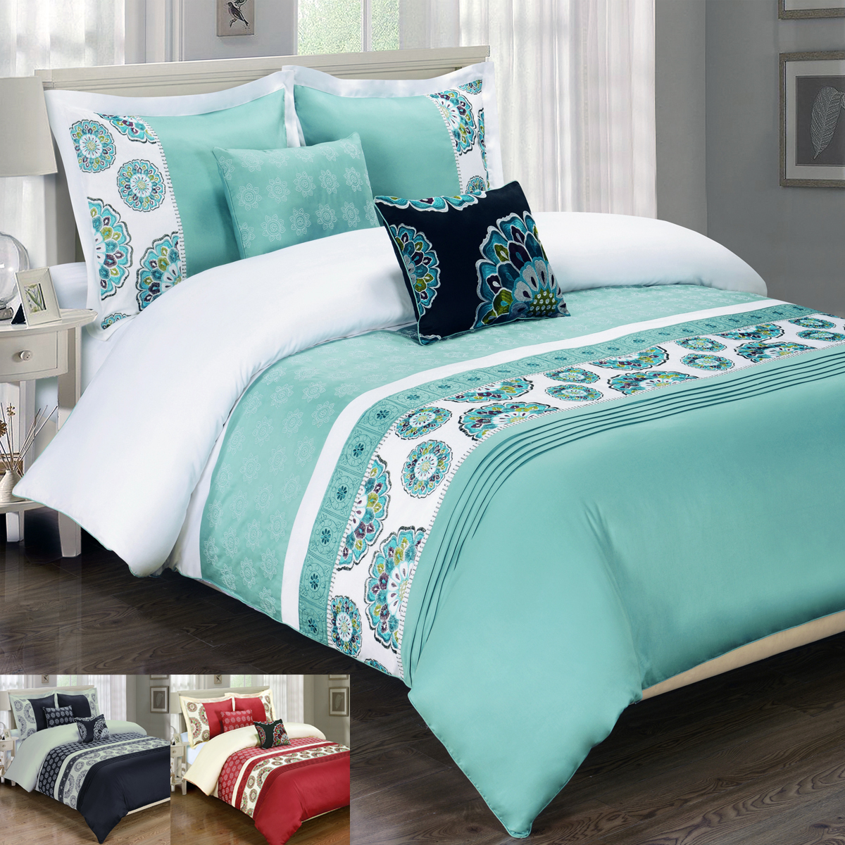 Royal Tradition. Duvet material :100% Cotton; Style: Embroidered; Thread count: 300; Duvet cover has 4 inner ties; Duvet cover has self piping 4 sides; Hidden zipper closure by footer. Care Instructions: Machine washable in cold water.
