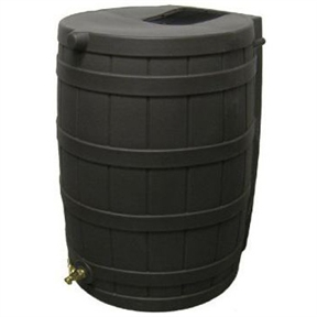 50-Gallon Rain Wizard Rain Barrel in Black, RWB50GRB103 :  This 50-Gallon Rain Wizard Rain Barrel in Black can collect and store up to 50 gallons of this precious rainwater resource and it will help you save money! The black barrel is made from ultraviolet resistant polyethylene. It is resistant to rust, mold, and rotting and features a brass spigot for easy hose hookup. There's even a debris and bug screen to keep your water clean! The Rain Wizard 50 is designed to be child and pet safe - there are no large openings for kids or pets to fall into and the barrel is overflow equipped. You can link your Rain Wizard 50 with other Rain Wizard 50s for greater capacity made easy! The barrel is made in the U.S.A., weighs 19-pounds (empty), and measures 31-inches tall x 23-inches wide.
