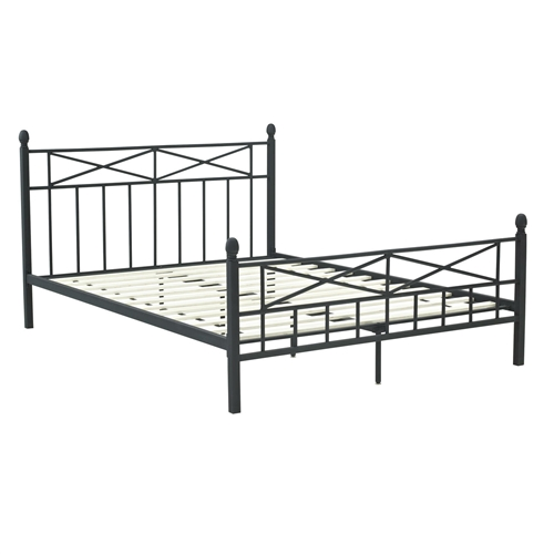 "This Full-size Matte Black Metal Platform Bed Frame with Headboard Footboard and Wood Slats displays an elegant combination of an ""X"" and slat design headboard and footboard. Easy to assemble and disassemble and finished in a matte black, creating an easy and stunning feature in any apartment, guest room or kids room. Headboard Included: Yes; Box Spring Required: No; Slats Required; Slats Required: Yes; Slats Included: Yes. Country of Manufacture: China"