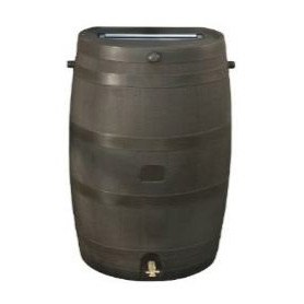 50-Gallon Brown Rain Water Collection Barrel with Brass Spigot,  RTSHA50GB100 :  Embrace nature's solution to our emerging 50-Gallon Brown Rain Water Collection Barrel with Brass Spigot! Our authentic oak barrel texture is molded into each barrel and will not fade, rot or risk insect infestation. The RTS Accents rain barrel has many unique features including a flat back to sit flush against a wall, linkable to other rain barrels for increased capacity, screen to keep out debris and insects, and a shut off valve for hose hook up with dual overflow. 50-Gallon capacity, brown.