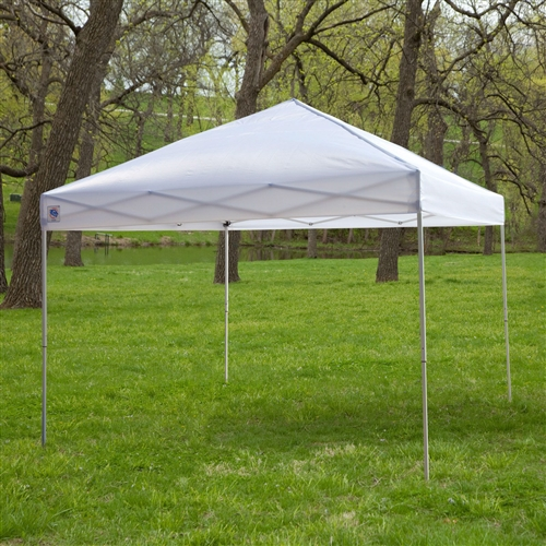 White 10-Ft x 10-Ft Outdoor Canopy Tent Gazebo with Steel Frame and Carry Bag, WEUG65184 :  Enjoy your time outdoors while relaxing in constant shade beneath this White 10-Ft x 10-Ft Outdoor Canopy Tent Gazebo with Steel Frame and Carry Bag. The strong polyester fabric of the square canopy is held in place by a durable steel frame that helps shape the fabric into a peaked cathedral ceiling. There are no tools required for assembly, and when it's not in use, the canopy breaks down quickly and easily. A series of pull pin sliders hold the canopy together, and with their removal the canopy and frame can be compacted small enough to fit into a roller carry bag for convenient transportation. Highly durable 150-denier polyester fabric; 10L x 10W feet for excellent coverage; Durable steel frame folds up compactly; Clear span cathedral ceiling; Canopy Color White, Blue, Red, Tan, Black; Component Party Tents & Canopies Awnings & Heating; Number of Legs 4; Pole Material Steel; Style Pop Up.