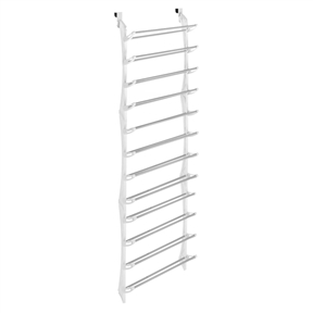 36 Pair Shoe Rack in White - Hangs Over Door, WOTDSRW36P :  This 36 Pair Shoe Rack in White - Hangs Over Door holds 36 pairs of shoes and provides a nonslip door pad to prevent scratching and hold the unit in place. Durable white resin sides with nonslip coated steel bars. Easy, no tool assembly.
