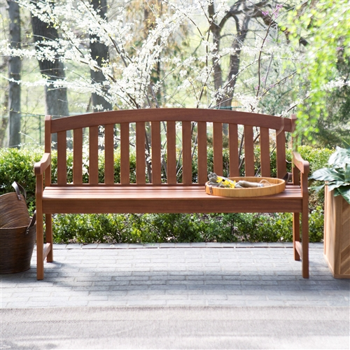 Curved Back 4-Ft Outdoor Garden Bench with Arm-Rests in Natural Wood Finish, ACB65187844 :  Relax your green thumb and take in your hardwork from the comfort of this Curved Back 4-Ft Outdoor Garden Bench with Arm-Rests in Natural Wood Finish. This sturdy wooden bench, in a natural finish, features an attractive arched back design and ample seating so that you and someone special can kick back and admire the view of your lush, green creations. Some assembly is required. Eucalyptus wood in a natural finish; Weather-, insect-, and rot-resistant; Wood weathers to a reddish-brown over time; Length 4 ft.; Style Arch; Warranty 1 Year.