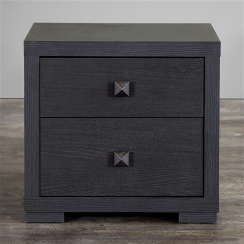"""Perk up"" your bedroom set with this Modern 2-Drawer Bedroom Nightstand in Espresso Faux Wood Grain Finish. Featuring eye-grabbing silvertone drawer pulls, its dual drawers provide plenty of room for all those little items. An espresso-toned faux wood-grain paper veneer and non-marking feet distinguish it from other discount bedroom-furniture items. Dual drawers with silvertone drawer pull; Non-marking feet; Frame Material: Wood; Top Material: Wood; Assembly Required: Yes."