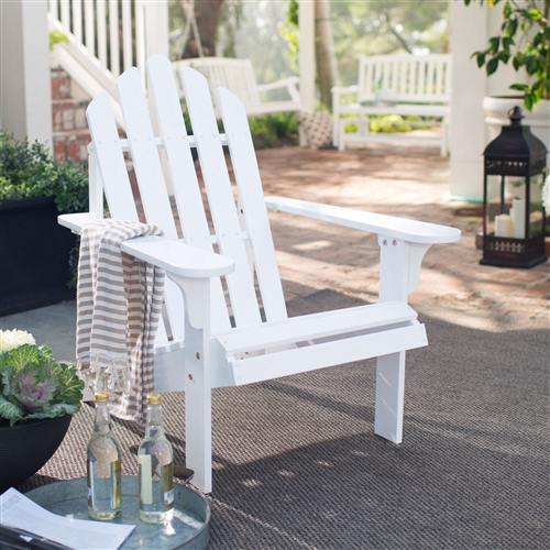 White Wood Classic Adirondack Chair with Comfort Back Design, WCAC5983641 :  Treat yourself to ultimate comfort when enjoying the sun, surf, poolside, or patio with this White Wood Classic Adirondack Chair with Comfort Back Design. Made with Acacia wood and given a classic white painted finish, this chair provides a welcoming style in any setting. It features a deep, angled seat and comfort back that puts you in just the right position for relaxing. Its wide armrests offer even more support and comfort. Ideal for any outdoor setting, this chair is weather resistant, durable, and looks great by the water or under a shady umbrella. Some assembly required. Chair dimensions: 28.3W x 35D x 36H inches. Seat height: 13.25 inches. Warranty 1 Year.