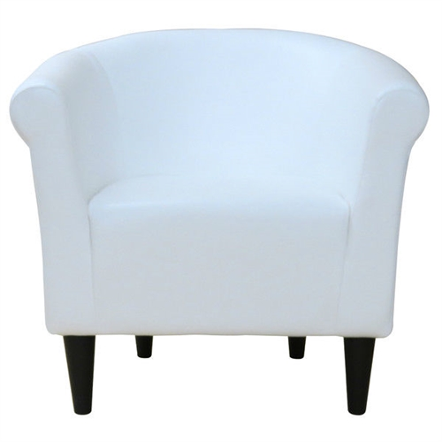 Classic style elements with a contemporary twist make this Modern Classic White Faux Leather Upholstered Club Chair - Made in USA a great addition to almost any room. The Modern Classic White Faux Leather Upholstered Club Chair - Made in USA is made with quality, comfort and contemporary style in mind. Embellish your room with the clean lines and contemporary materials. Chair Design: Club chair; Removable Seat Cushion: No; Style: Contemporary; Assembly Required: No; Upholstery Material: Faux leather;  Cushion or Upholstery Fill Material: Polyester.