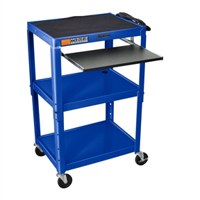"This Mobile Stand Up Computer Cart Workstation Desk in Royal Blue is height adjustable in 2"" increments. Includes hand holes for easy mobility. Application Options: Home Office, Office; Product Category: AV Carts; Style Options: AV Cart, Projector Cart; Type Options: Computer Desk, Workstations."