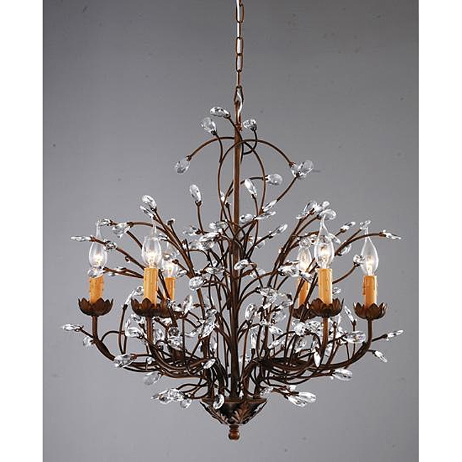 This antique Bronze 6-light Crystal and Iron Chandelier your brighten your home decor with an antique bronze iron chandelier. Also, this fixture does need to be hard wired. Professional installation is recommended. Assembly Required.