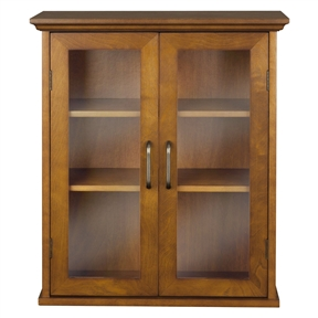 Oak Finish Bathroom Wall Cabinet with Glass 2-Doors & Shelves, DAWC59581 :  This Oak Finish Bathroom Wall Cabinet with Glass 2-Doors & Shelves offers storage with style for the bathroom. Its elegant crown top molding and adjustable shelf helps make it easy to store items of different sizes. The tempered glass-paneled doors provides a clear view into the cabinet. The cabinet features metal knobs for easy opening. This sturdy cabinet comes with assembly hardware. Classic metal design, crown molding and adjustable shelves provide elegant bathroom storage; Inner shelves are adjustable, easy storage for tall objects; Assembly instructions offered in three languages: English, Spanish & French with a clear diagram style.