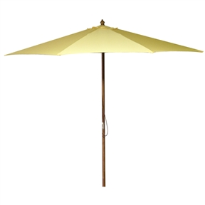 9-Foot Wood Frame Outdoor Patio Market Umbrella in Canary Yellow, CYMU15819 :  This 9-Foot Wood Frame Outdoor Patio Market Umbrella in Canary Yellow would be a great addition to your home. We recommend to take inside during extreme weather to avoid damage. To clean use a mild soap and water solution. Material: 160G Polyester / Wood frame; Spun polyester canopy; Maintenance free; Fabric is designed to withstand up to 500 hours of direct sunlight. Not intended for Commercial Use, only warrantied for 500 hours of direct sunlight for commercial use.